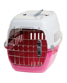 pink, red and white dog carrier