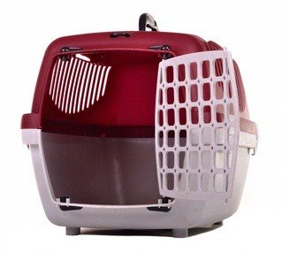 red, white and black plastic pet carrier